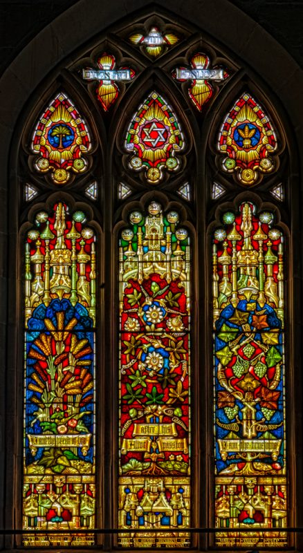 Rear stained glass window